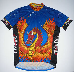 PRIMAL WEAR Cycling Jersey HEAT STROKE Vtg 90s DRAGON Print USA Mens NEW Lg