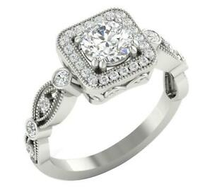 Designer Square Halo Anniversary Ring I1 G 1.50 Ct Round Diamond 14K Gold