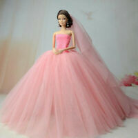 Pink Fashion Party Dress/Wedding Clothes/Gown+Veil For 30cm Doll Dresses