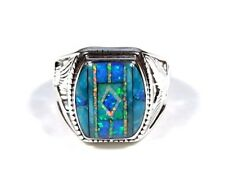 Turquoise & Multicolor Inlay 925 Sterling Silver Eagle Men's Ring size 7-9