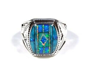 Turquoise & Multicolor Inlay 925 Sterling Silver Eagle Men's Ring size 7-7.5