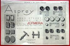 1937 ASPREY of Bond St. Gents Deco Cuff Link Sets AD #2 - Original Print ADVERT
