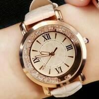 Elegant Women Ladies Glitter Crystal Watch Leather Soft Strap Wrist Watches Gift