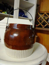 Antique Pottery Crock Bean Pot W/Lid & Wire Handle Brown & Natural
