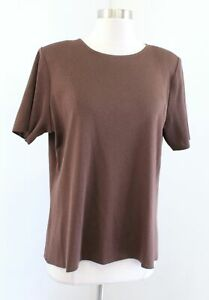 Exclusively Misook Solid Static Brown Short Sleeve Knit Top Blouse Size XL