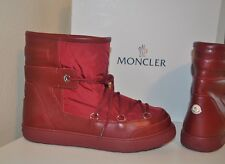 MONCLER New Fanny Lace Up Ankle Short Snow Logo Boot Shoes 40 - 9.5 Red Burgundy