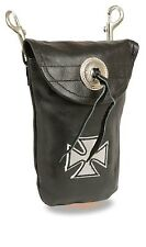 Ladies Premium Leather Maltese Cross Purse Clip On Pouch Bag Motorcycle Biker