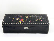 Antique Mother of Pearl Inlay Wood Wooden Jewelry Trinket Box Black Lacquer 1880