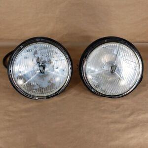 "Reproduction Lucas PL700 7"" Headlights+Buckets Set of 2 Fits Sunbeam Triumph Jag"