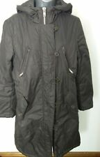 WOMENS GAP BROWN PADDED PARKA WINTER LONG COAT WITH HOOD SIZE  S P