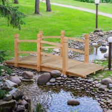 5Wooden Bridge Stained Finish Footbridge Decorative Solid Wood Garden Pond Arch