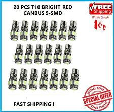 20 X T10 RED CANBUS 5050 LED Wedge Car 5 SMD Light Bulb W5W 194 168 2825 192