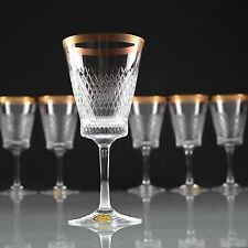 6 Vintage Spiegelau Helios Kristall Gläser Weingläser Goldrand 50er - 60er W2D