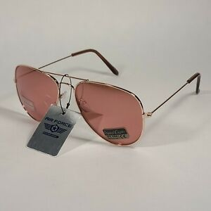 Air Force TOP ACE Aviator Sunglasses Rose Gold Wire Metal Frame Rose Flash Lens
