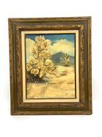 Vintage Original Desert Mountain Landscape Western Oil Painting Signed RK