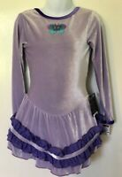 GK LAVENDER VELVET CHILD SMALL LgSLV BUTTERFLY APPLIQUÉ ICE SKATE DRESS CS NWT!