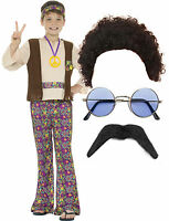 Hippy Hippie Smiffys Boys Kid Child 60s 70s Fancy Dress Costume Afro Wig Glasses