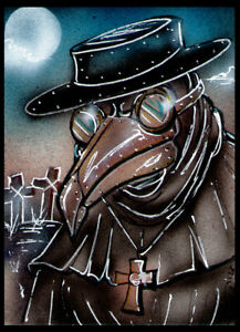 PLAGUE DOCTOR Original Sketch Card Painting by Bianca Thompson