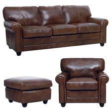 New Luke Leather Italian Brown Down 3 Pcs   1 Sofa,1Chair,1 Ottoman