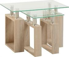 Milan Nest of Tables in Oak Effect Veneer Clear Glass Silver  Free Delivery