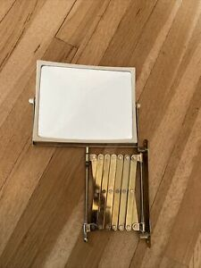 Vtg Brass Square Magnifying EXTENSION ACCORDIAN MIRROR WALL MOUNT Jerdon 2021C