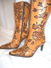 Andrew Stevens Womens Cowboy Boots Roses Flowers Brown Made in Italy Size 7
