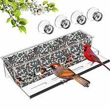 Hhxrise Acrylic Bird Feeder with Strong Suction Cups & Seed TrayWindow Outdoo.