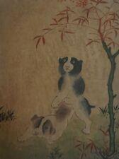 Fine Korean Folk MinHwa Hand Painting 2 Dogs Playing on Rice Paper