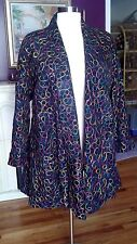 (Mannart)  Black  Genuine Suede Coat W/ Multi-Color Circle Design Size 8