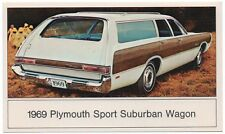 "1969 Plymouth SPORT SUBURBAN ""Woodie"" STATION WAGON Dealer Promo Postcard VG+/Ex"