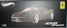 Hot Wheels Elite Ferrari 458 Spider Negro Mate 1:18 Diecast Coche Deportivo x5485