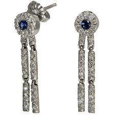 Diamond Earrings Blue Sapphire Earrings Dangling Earrings In 14k White Gold