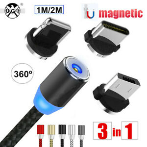 1M 2M Micro USB IOS Fast Charger Magnetic Cable Lead For Samsung Android Phones