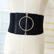 Ladies Punk Extra Wide Corset Metal Ring Dress Belt Zip Up Elastic Waistband