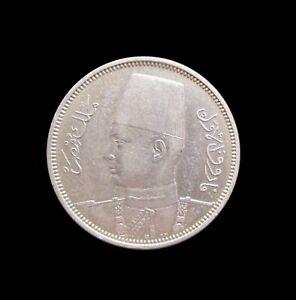 EGYPT 5 PIASTRES 1939 - 1358 FAROUK SILVER KM 366 #1134#