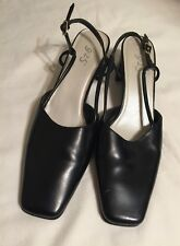 Vintage 1980s Women's 8 M 9-2-5 Collection Black Square Toe Block Heel Shoes