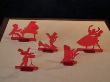 "Vtg Concert Figures 5p Lot Hard Plastic 4x3.5"" Harp Dance Sing Piano Conduct A56"