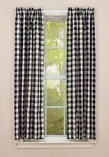 Primitive Country Checkerboard Star Panel Curtains 72Wx63L Lined Cotton