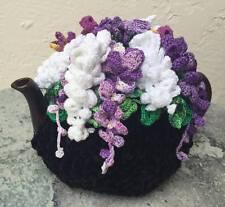Handmade Crochet Tea Cozy Tea Cover Tea Warmer Wisteria Flowers Black Base