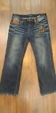 Disney Mickey Mouse Embroidered Leather Jeans Asian Tag Sz 32X28