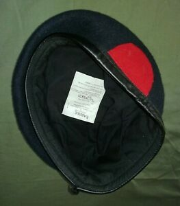 Royal Marine Recruit Navy Blue Beret with Red Badge Backing size 57