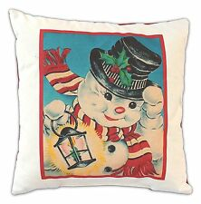 """WINDY SNOWMAN Vintage-Style Christmas Pillow, 17"""" x 17"""" by Born In A Barn"""