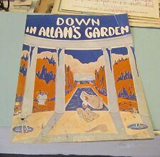 1919 Down in Allah's Garden Sheet Music Ben Kaplan Beautiful Cover Art Fountains