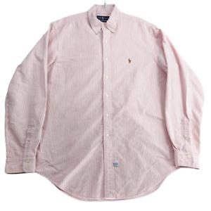 Ralph Lauren Men Button Down Shirt 16 1/2 36 Red White Stripe Heavy Cotton NOTE