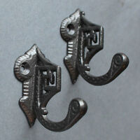 PAIR OF ART DECO CAST IRON COAT HOOKS VICTORIAN ANTIQUE VINTAGE OLD ~ CH04(x2)