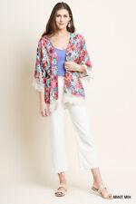 Umgee Floral Print 3/4 Sleeve Open Front Crochet Trim Boho Kimono