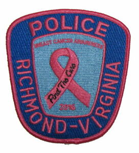 Virginia State Richmond RPD Police Breast Cancer Awareness 2016 Pink Patch