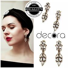 Art Deco Vintage Silver Sparkly Bridal Bride Drop Earrings UK