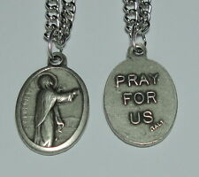 """NEW St Genevieve Holy Medal on 24"""" Stainless Steel Chain Patron of Paris, France"""