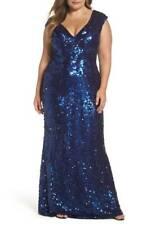 NWOT  midnight  Mac Duggal  Sequin Plunging V-Neck Gown size  24W